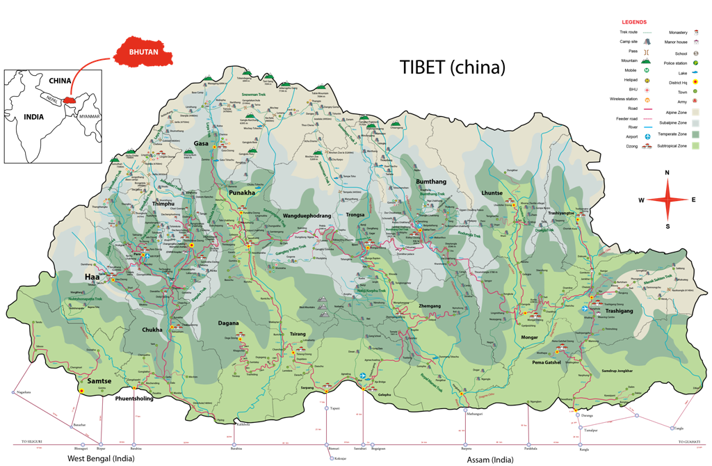 Bhutan Map Location A Way To Bhutan Tours Travels - Map of bhutan